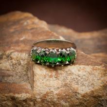 แหวนมรกต แหวนพลอยสีเขียว แหวนแถว แหวนเงินแท้ ฝังพลอย5เม็ด