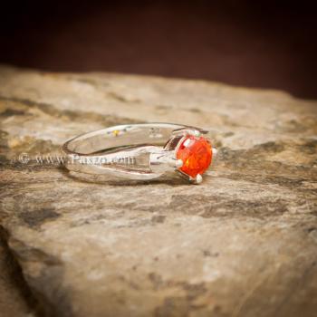 แหวนพลอยสีส้ม แหวนโกเมน แหวนเงินแท้ #5