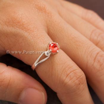 แหวนพลอยสีส้ม แหวนโกเมน แหวนเงินแท้ #4