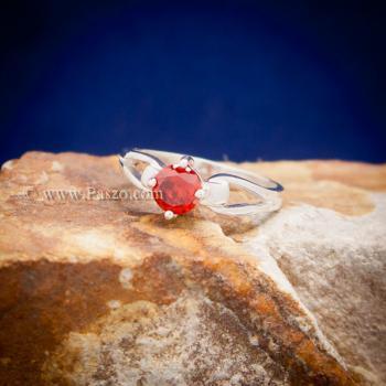 แหวนพลอยสีส้ม แหวนโกเมน แหวนเงินแท้ #2