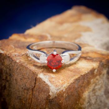 แหวนพลอยสีส้ม แหวนโกเมน แหวนเงินแท้ #3
