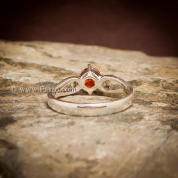 แหวนพลอยสีส้ม แหวนโกเมน แหวนเงินแท้ #6
