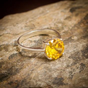 แหวนบุษราคัม แหวนพลอยสีเหลือง เม็ดเดี่ยว #4