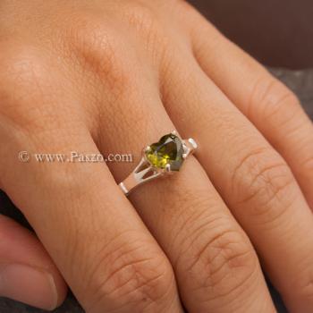 แหวนพลอยรูปหัวใจ พลอยเขียวส่อง แหวนพลอยเงินแท้ #6