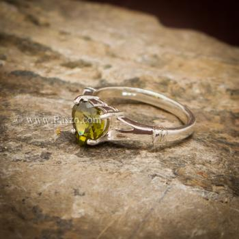 แหวนพลอยรูปหัวใจ พลอยเขียวส่อง แหวนพลอยเงินแท้ #3