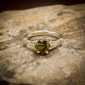 แหวนพลอยรูปหัวใจ พลอยเขียวส่อง แหวนพลอยเงินแท้ #5