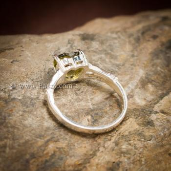แหวนพลอยรูปหัวใจ พลอยเขียวส่อง แหวนพลอยเงินแท้ #2