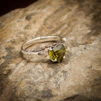 แหวนพลอยรูปหัวใจ พลอยเขียวส่อง แหวนพลอยเงินแท้ #4