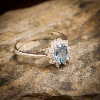 แหวนอความารีน แหวนพลอยสีน้ำทะเล แหวนเงินแท้ #3