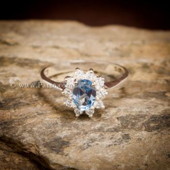 แหวนอความารีน แหวนพลอยสีน้ำทะเล แหวนเงินแท้ #4