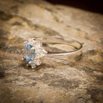 แหวนอความารีน แหวนพลอยสีน้ำทะเล แหวนเงินแท้ #5