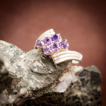 แหวนพลอยสีม่วง อะเมทีส เงินแท้ #4