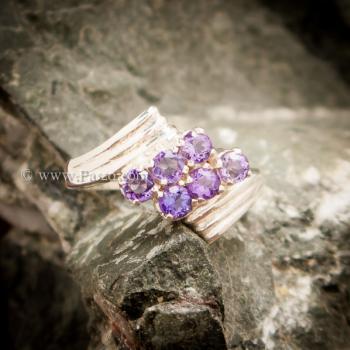 แหวนพลอยสีม่วง อะเมทีส เงินแท้ #3