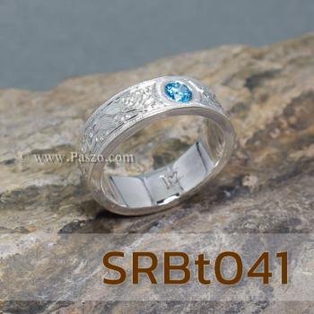 แหวนลายไทย แหวนพลอยสีฟ้า แกะสลักลายไทย #3