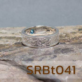 แหวนลายไทย แหวนพลอยสีฟ้า แกะสลักลายไทย #5