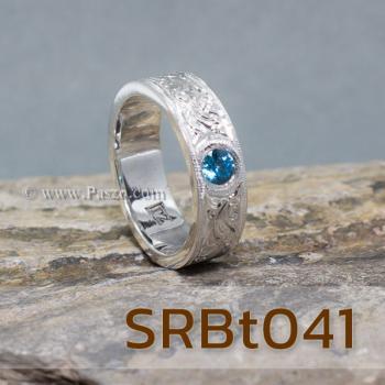 แหวนลายไทย แหวนพลอยสีฟ้า แกะสลักลายไทย #2