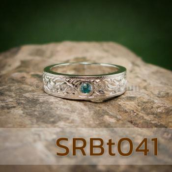 แหวนลายไทย แหวนพลอยสีฟ้า แกะสลักลายไทย #6