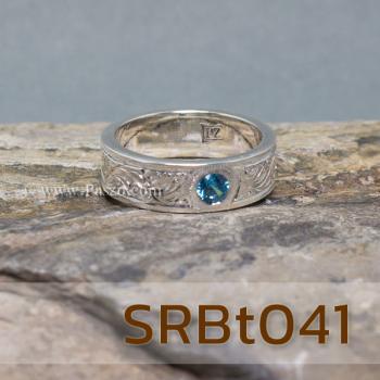 แหวนลายไทย แหวนพลอยสีฟ้า แกะสลักลายไทย #7