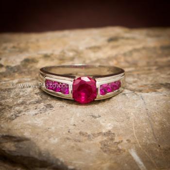 แหวนทับทิม พลอยสีแดง 7เม็ด #3