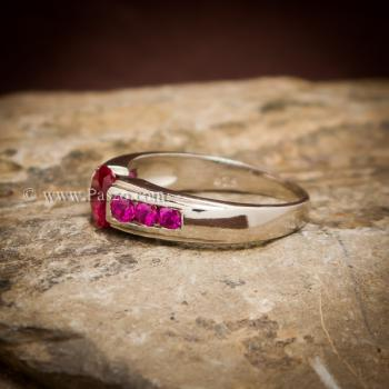 แหวนทับทิม พลอยสีแดง 7เม็ด #2