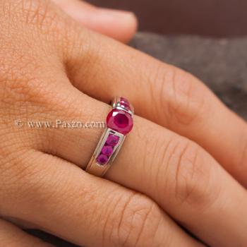 แหวนทับทิม พลอยสีแดง 7เม็ด #5