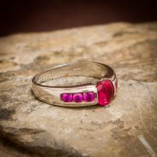 แหวนทับทิม พลอยสีแดง 7เม็ด แหวนเงินแท้ 925