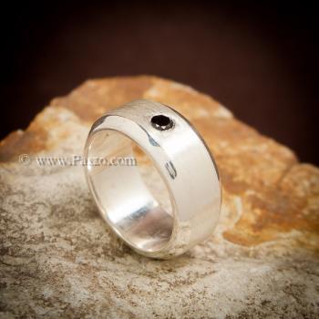 แหวนนิล แหวนเงินแท้ ฝังนิลแท้ #4