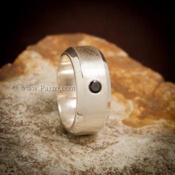 แหวนนิล แหวนเงินแท้ ฝังนิลแท้ #3