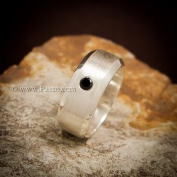 แหวนนิล แหวนเงินแท้ ฝังนิลแท้ #2
