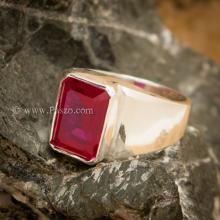 แหวนผู้ชายทับทิม เจียระไนสี่เหลี่ยม แหวนผู้ชายเงินแท้ แหวนทรงสี่เหลี่ยม แหวนทับทิมผู้ชาย แหวนผู้ชาย