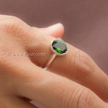 แหวนมรกต แหวนพลอยสีเขียว แหวนเงินแท้ #4
