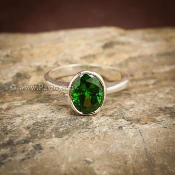 แหวนมรกต แหวนพลอยสีเขียว แหวนเงินแท้ #3