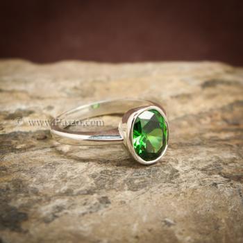 แหวนมรกต แหวนพลอยสีเขียว แหวนเงินแท้ #5