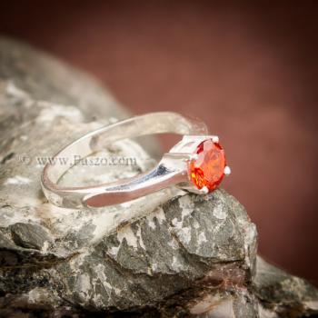 แหวนโกเมนส้ม แหวนเงินแท้ ฝังพลอยสีส้ม #8