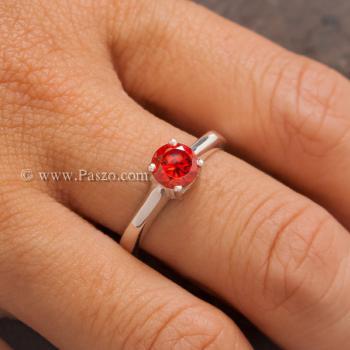 แหวนโกเมนส้ม แหวนเงินแท้ ฝังพลอยสีส้ม #2