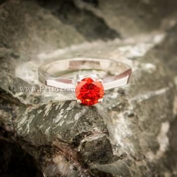 แหวนโกเมนส้ม แหวนเงินแท้ ฝังพลอยสีส้ม #7