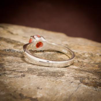 แหวนโกเมนส้ม แหวนเงินแท้ ฝังพลอยสีส้ม #5