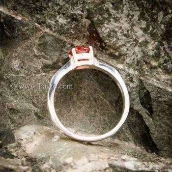 แหวนโกเมนส้ม แหวนเงินแท้ ฝังพลอยสีส้ม #6