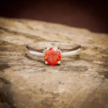 แหวนโกเมนส้ม แหวนเงินแท้ ฝังพลอยสีส้ม #3