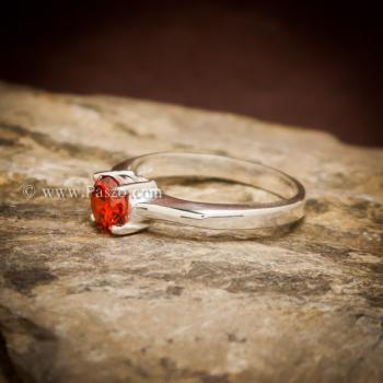 แหวนโกเมนส้ม แหวนเงินแท้ ฝังพลอยสีส้ม #4