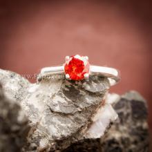 แหวนโกเมนส้ม แหวนเงินแท้ ฝังพลอยสีส้ม แหวนพลอยเม็ดเดี่ยว เม็ดกลม