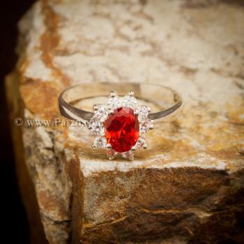 แหวนพลอยสีส้ม ล้อมเพชร พลอยโกเมน #4