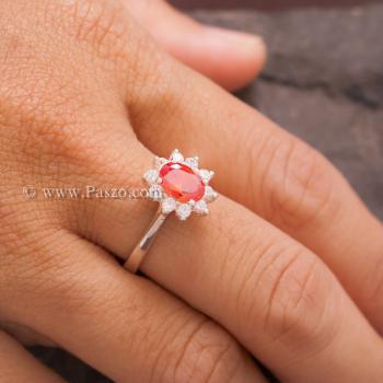 แหวนพลอยสีส้ม ล้อมเพชร พลอยโกเมน #3
