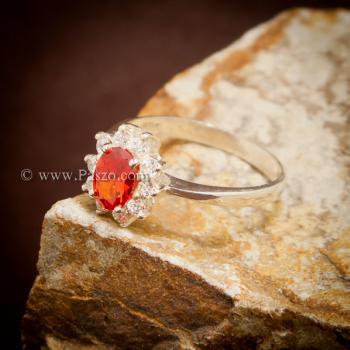 แหวนพลอยสีส้ม ล้อมเพชร พลอยโกเมน #2