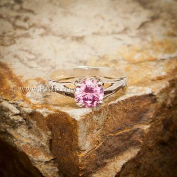 แหวนพลอยสีชมพู แหวนพลอยพิงค์โทพาส เม็ดเดี่ยว #3