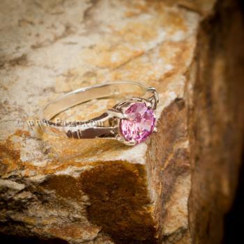 แหวนพลอยสีชมพู แหวนพลอยพิงค์โทพาส เม็ดเดี่ยว #4