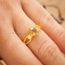 แหวนพลอยสีเหลือง แหวนทอง90 ฝังพลอยบุษราคัม พลอยสีเหลือง เม็ดกลม เม็ดเดี่ยว