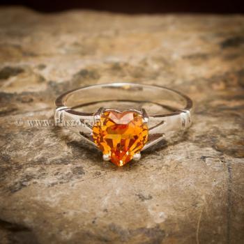 แหวนพลอยรูปหัวใจ แหวนพลอยแม่โขง แหวนบุษราคัม #5