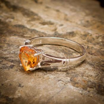 แหวนพลอยรูปหัวใจ แหวนพลอยแม่โขง แหวนบุษราคัม #3