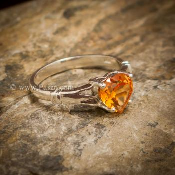 แหวนพลอยรูปหัวใจ แหวนพลอยแม่โขง แหวนบุษราคัม #4